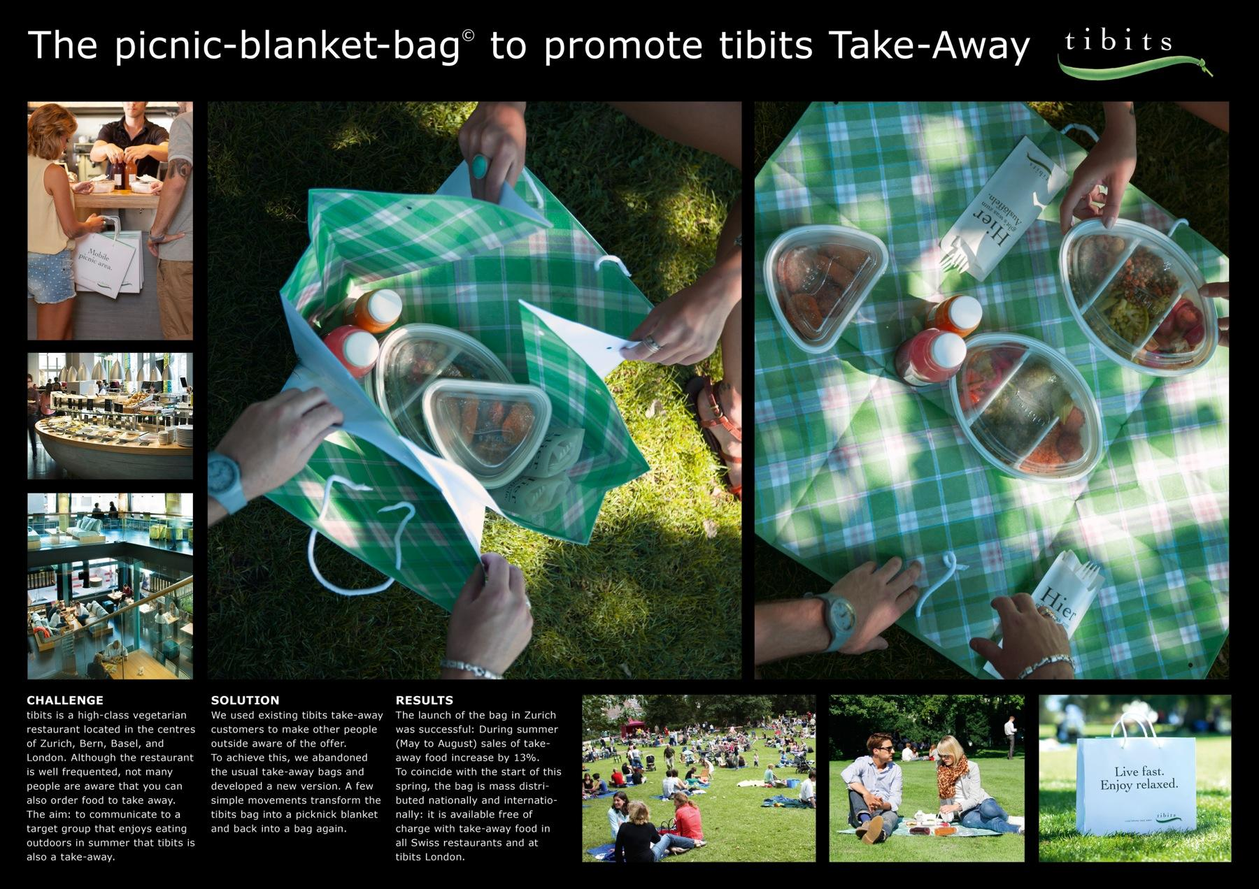 Tibits Vegetarian Restaurant Direct Ad -  Picnic blanket bag