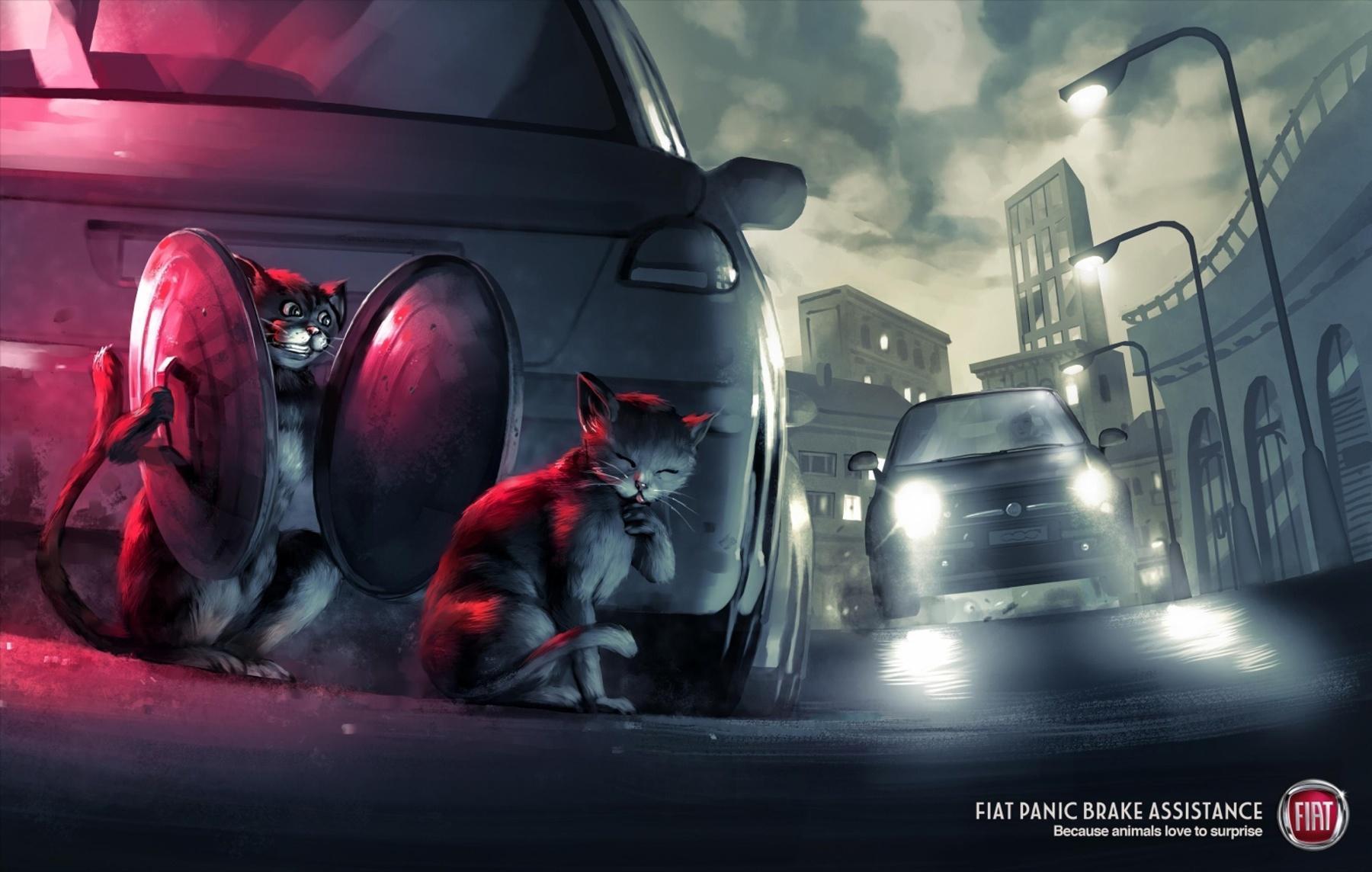 Fiat Print Ad -  Cats