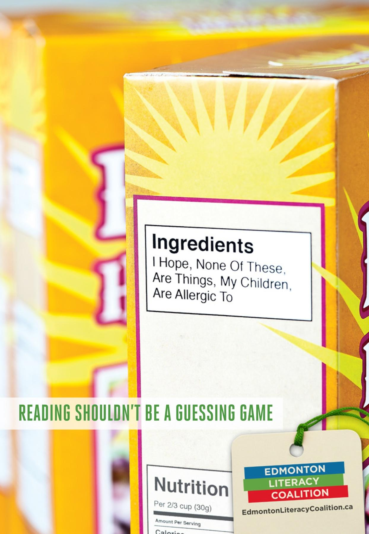 Edmonton Literacy Coalition Print Ad -  Cereal