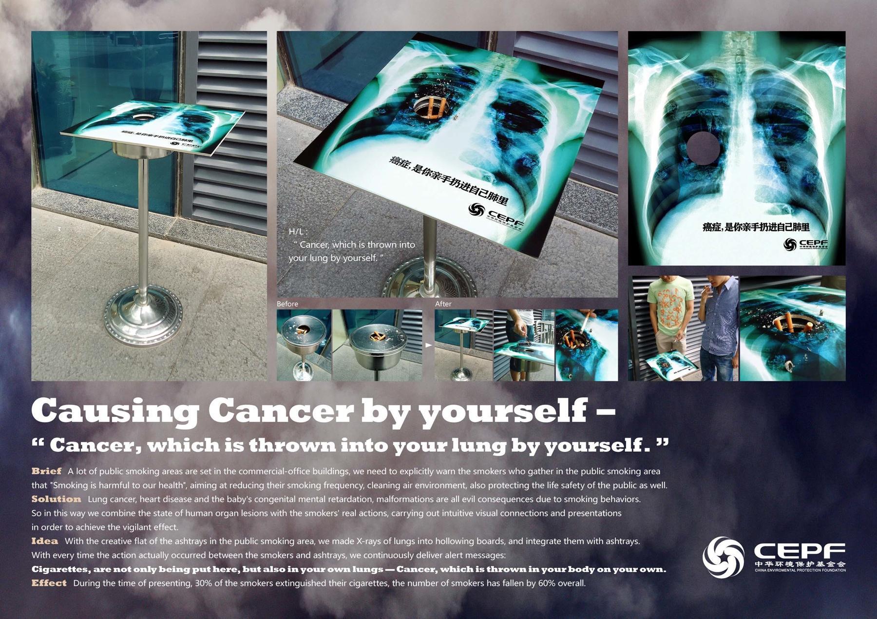 China Environmental Protection Foundation Ambient Ad -  No Smoking Cancer