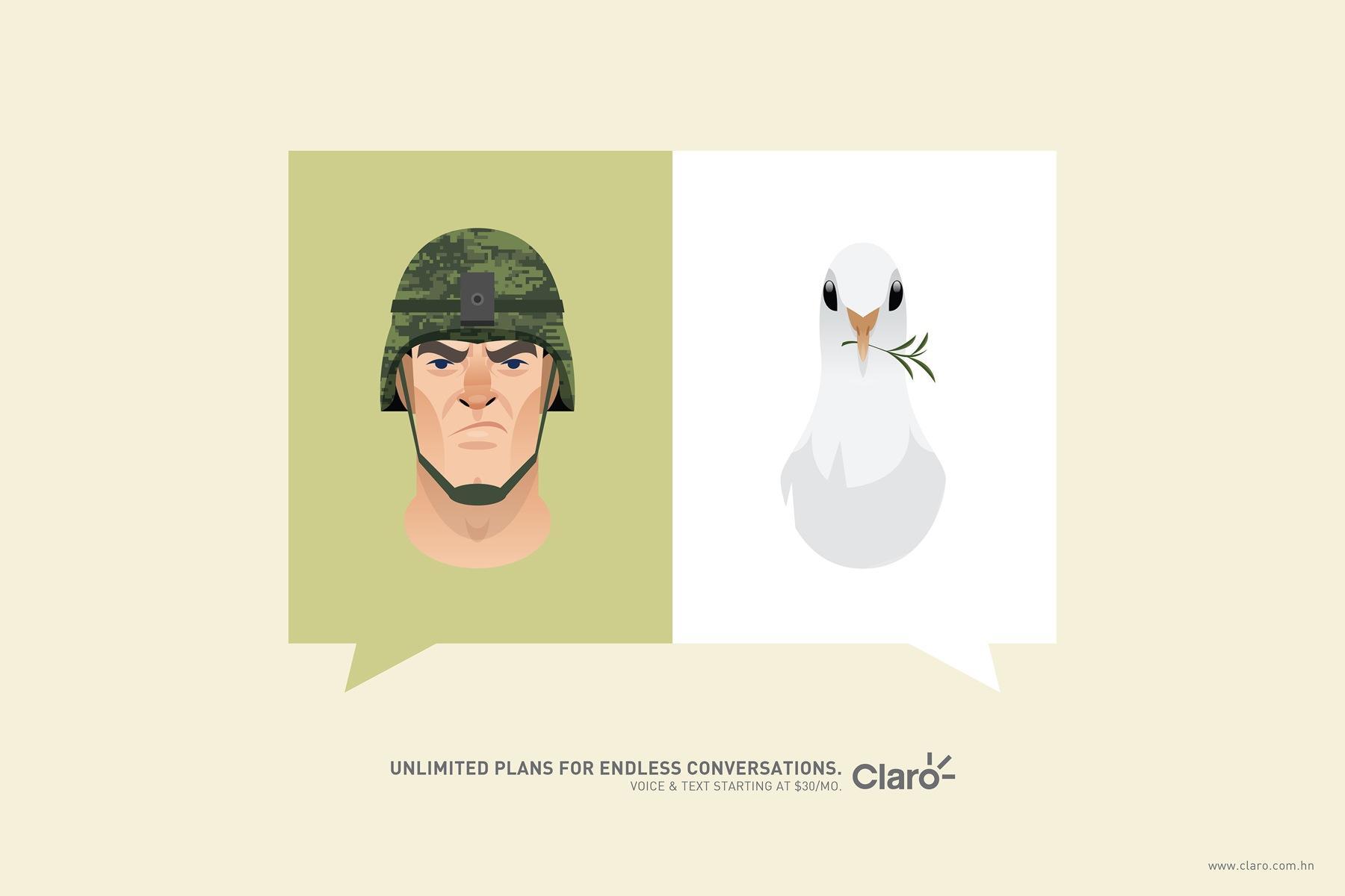 Claro Print Ad -  Soldier&Pigeon