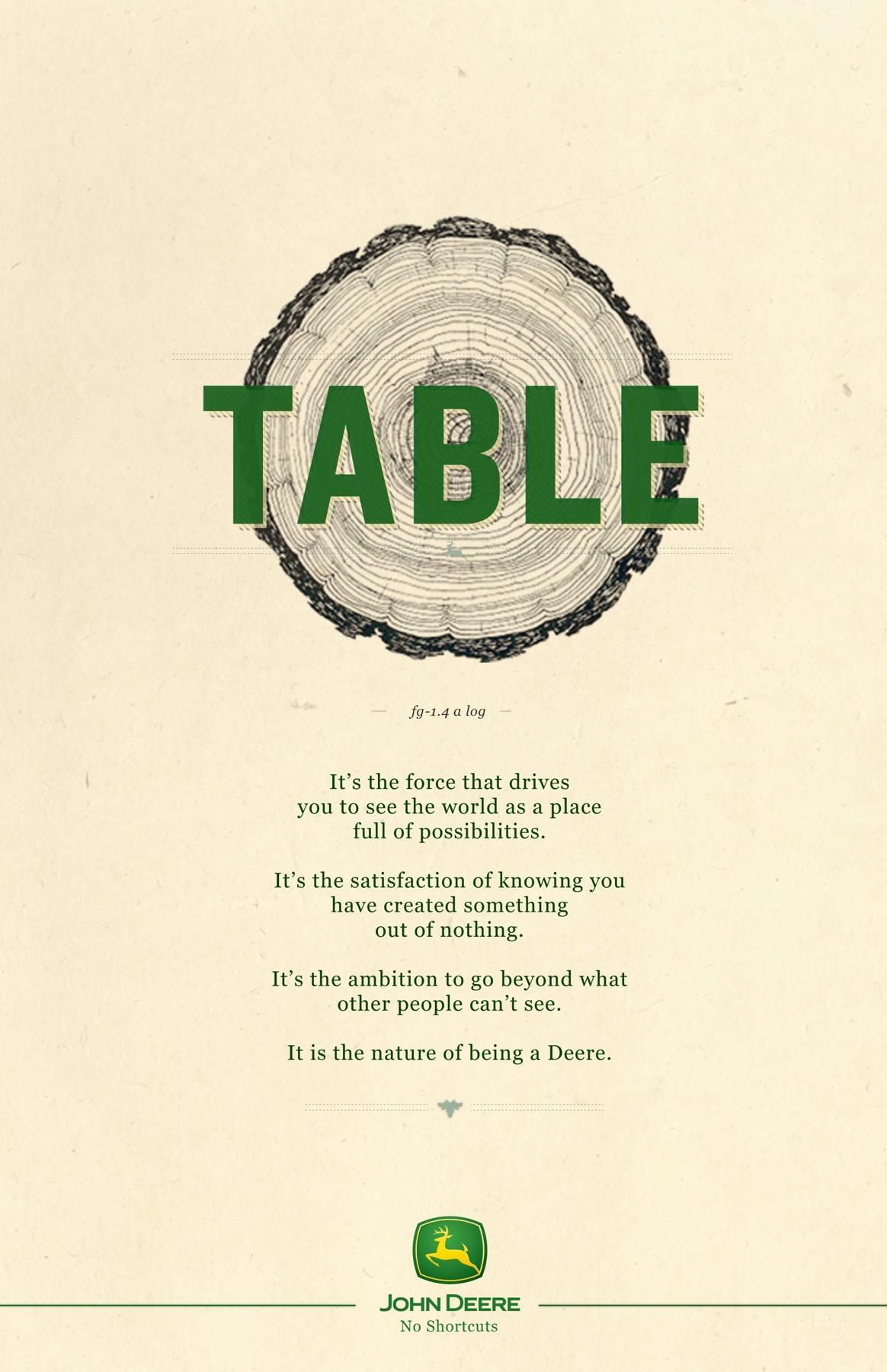 John Deere Print Ad -  No Shortcut, Table