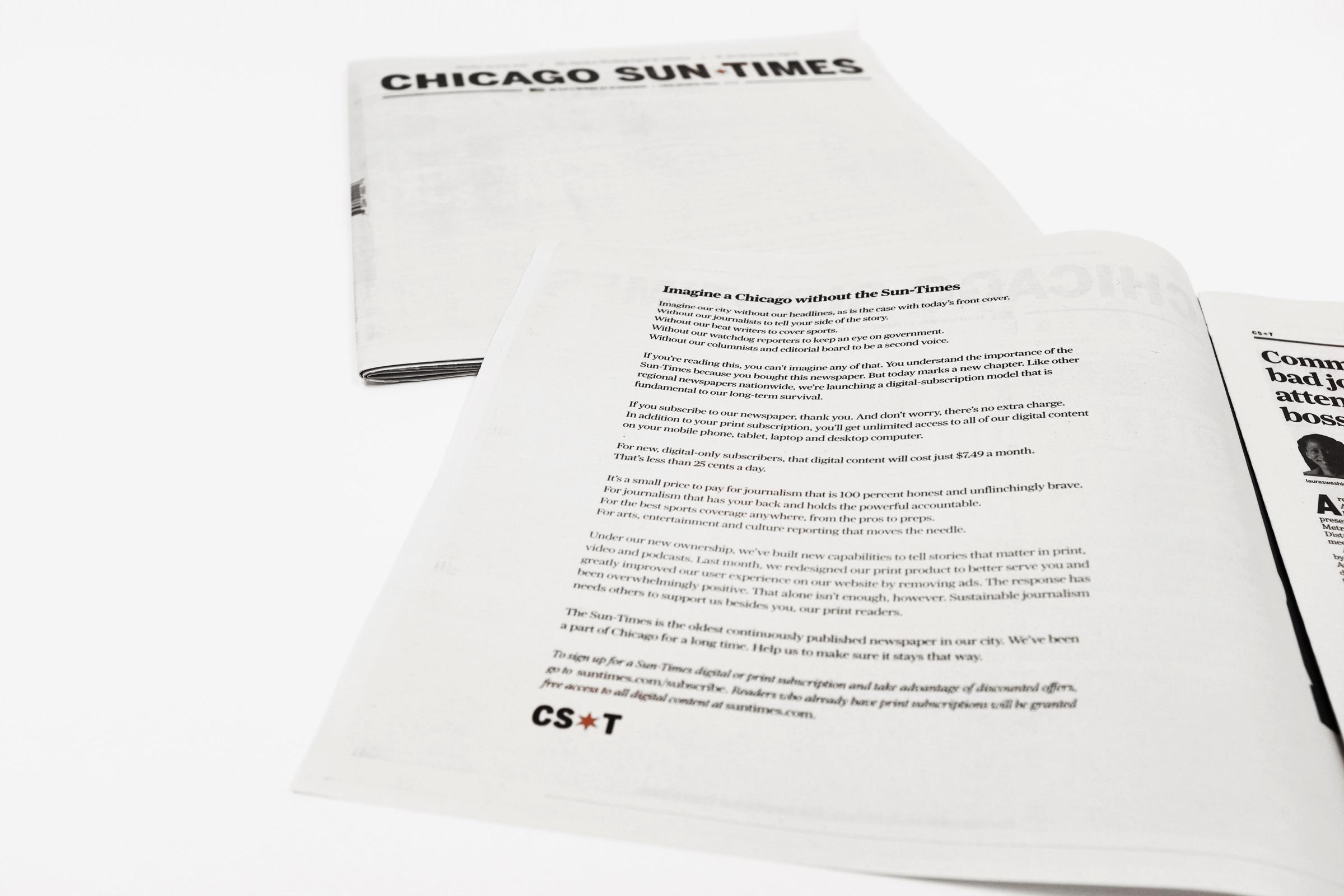 Chicago Sun Times Print Ad - The Blank Newspaper Cover