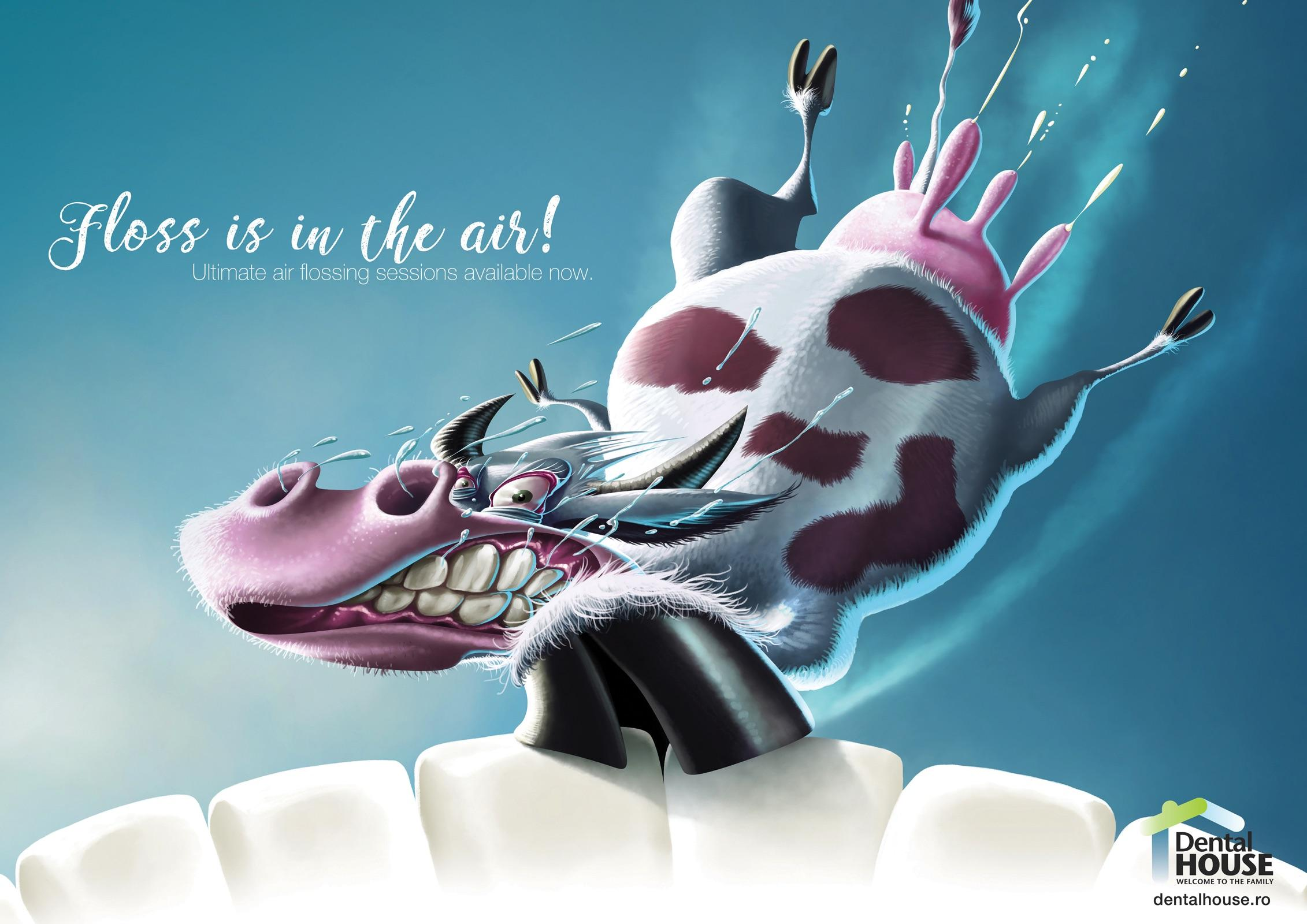 Dental House Print Ad - Floss Is In the Air - Cow