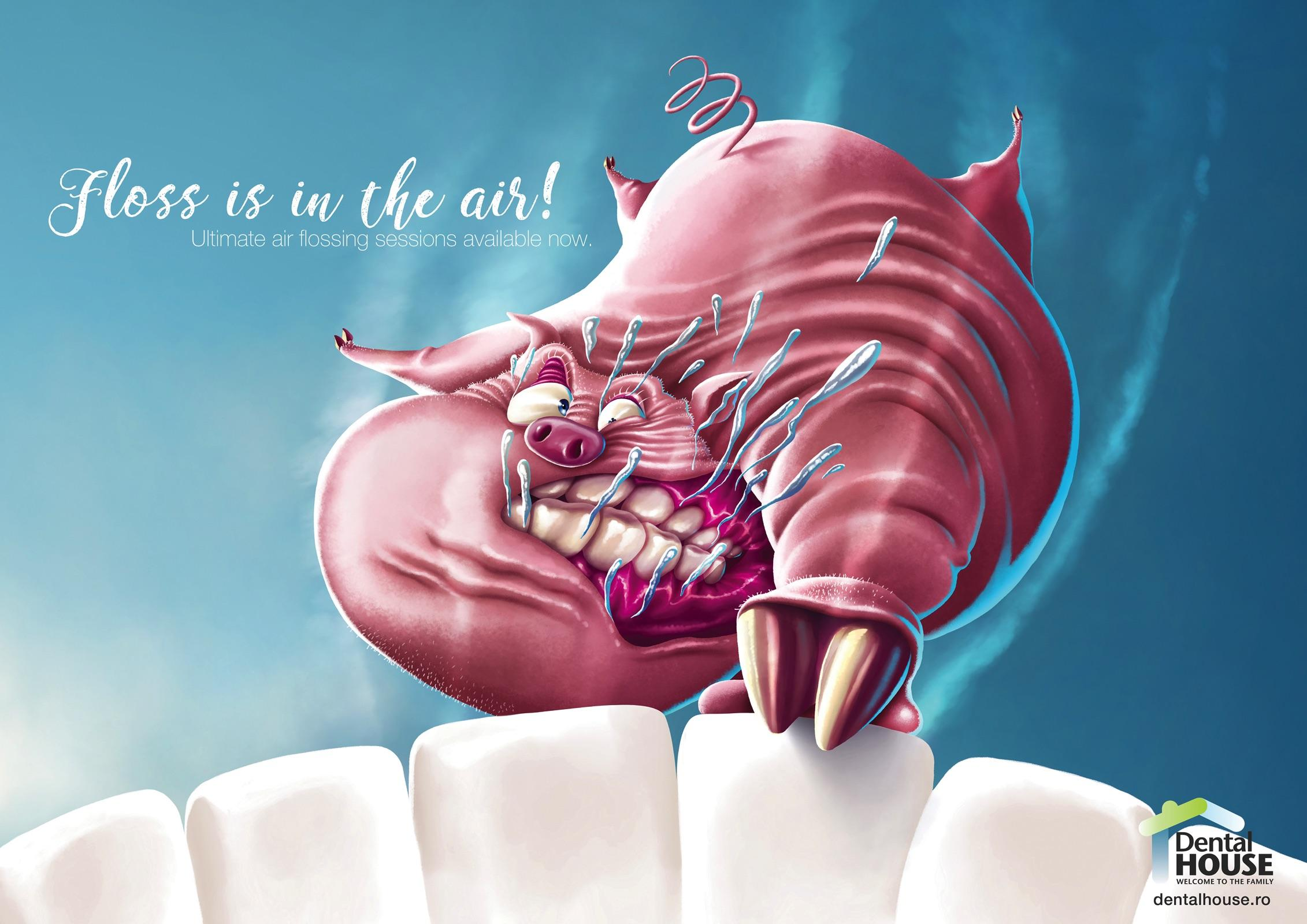 Dental House Print Ad - Floss Is In the Air - Pig