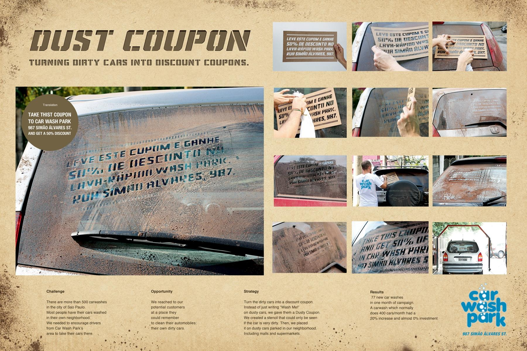 Car Wash Park Ambient Ad -  Dust coupon
