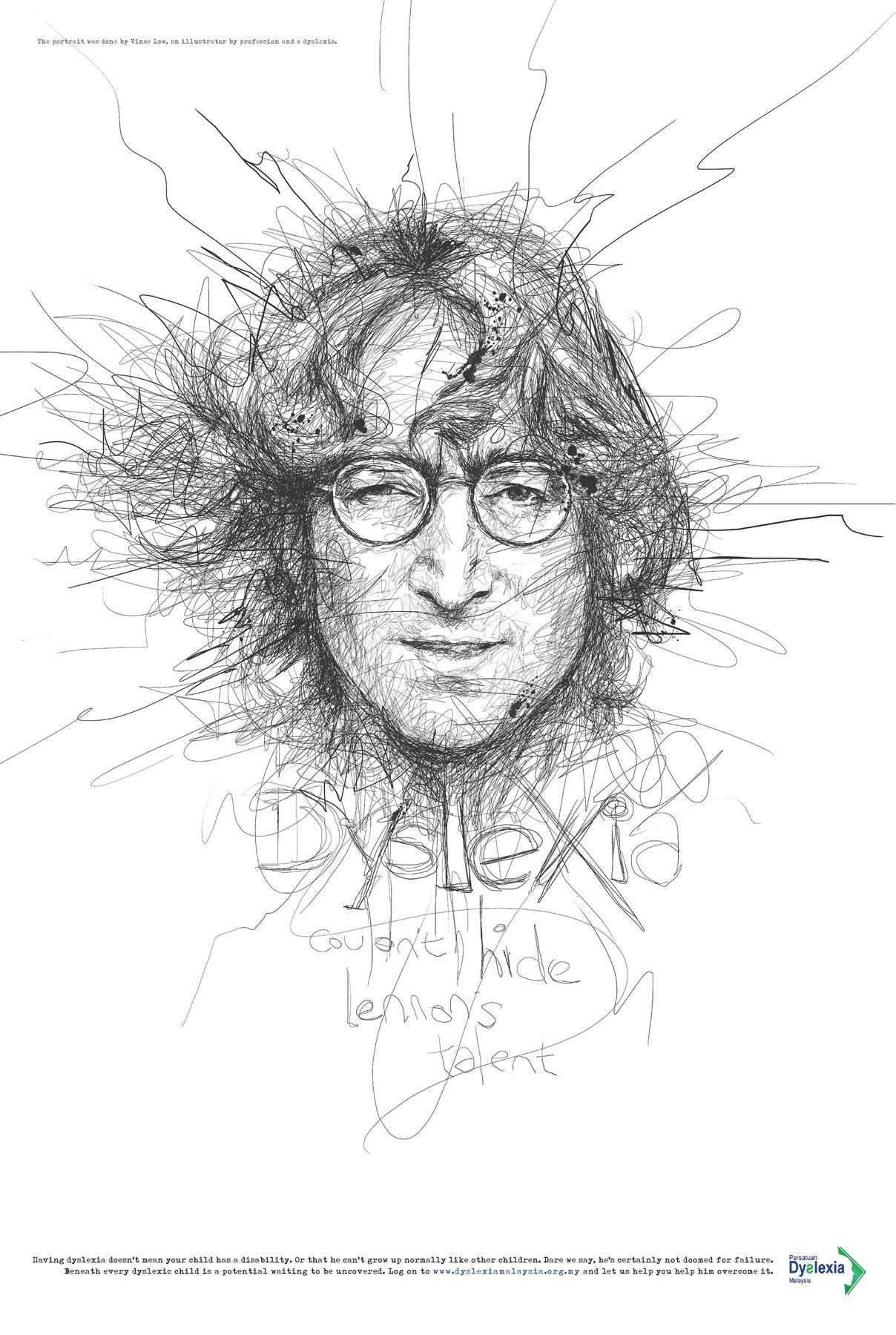 Dyslexia Association Print Ad -  John Lennon