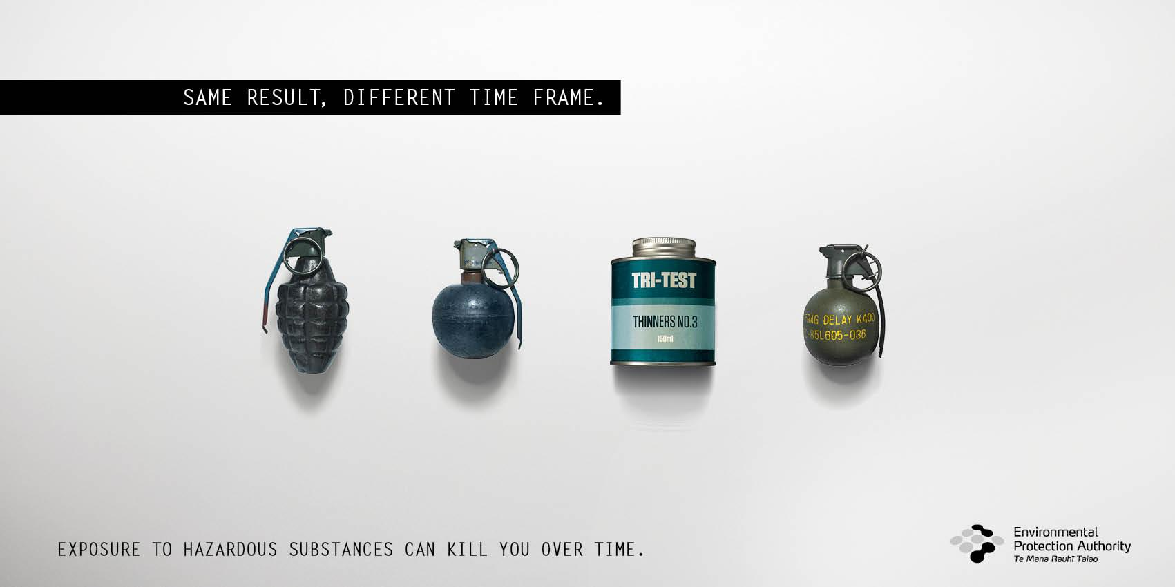 Environmental Protection Authority Print Ad -  Grenades