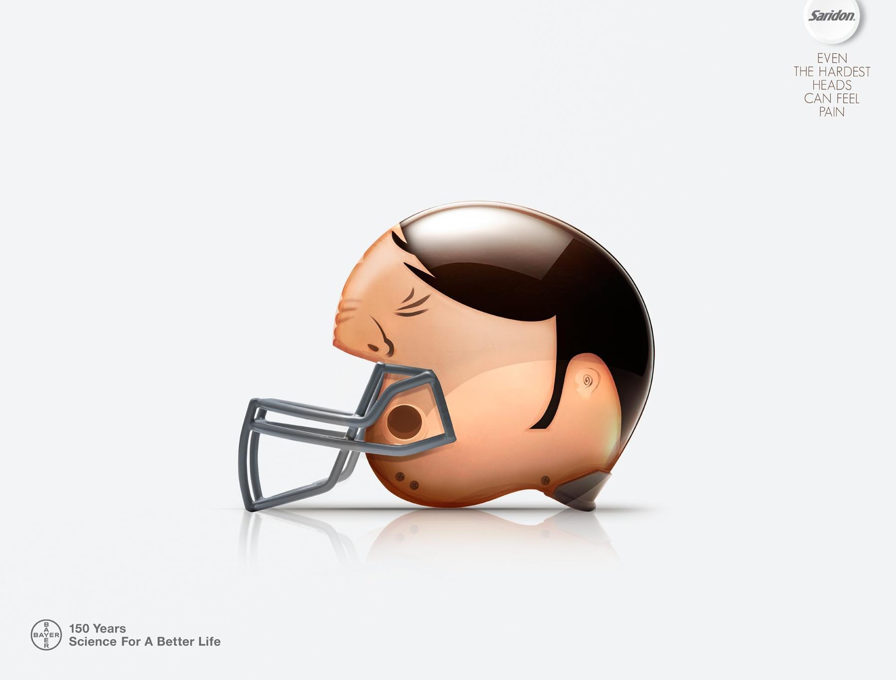 Saridon Print Ad -  American football helmet