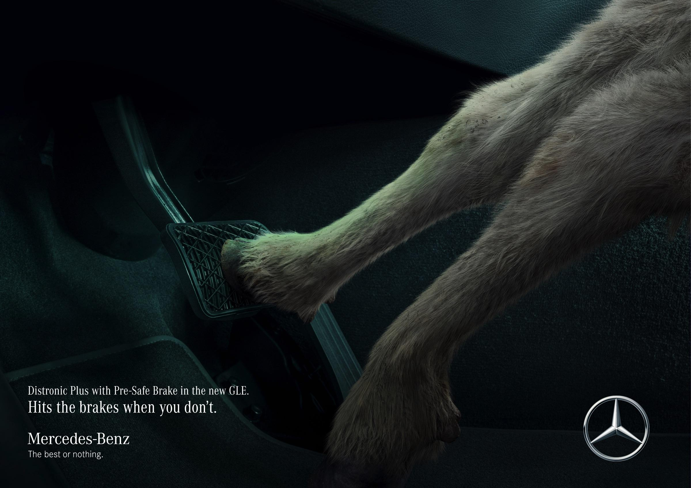 Mercedes Print Ad - Goat saves goat