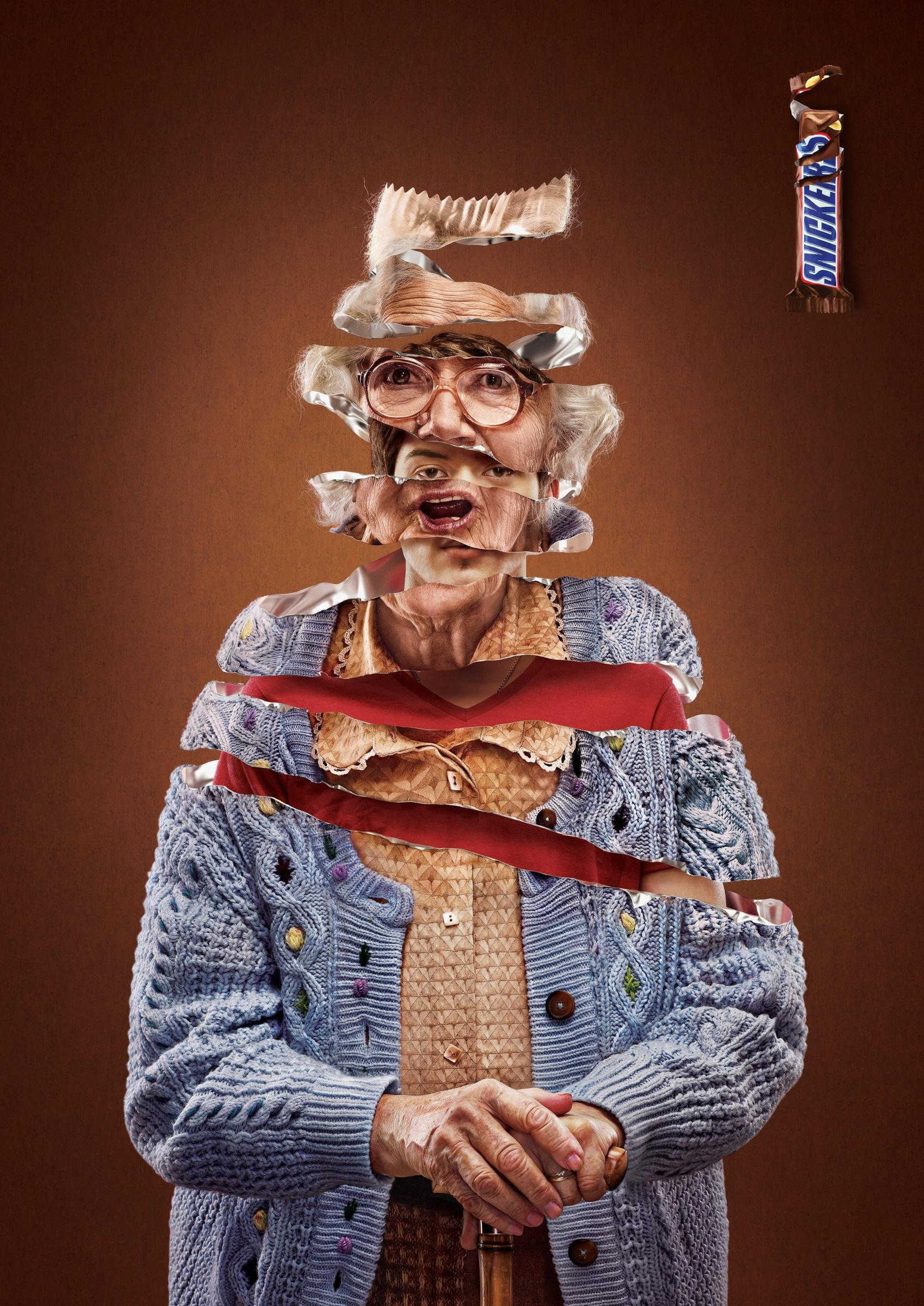 snickers print advertbbdo: granny | ads of the world™