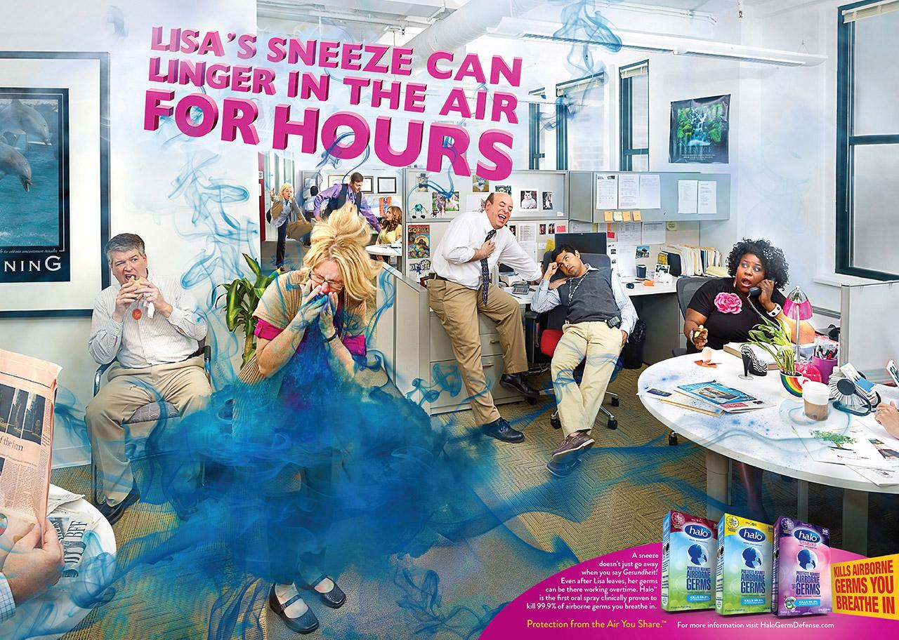 Halo Oral Antiseptic Print Ad -  Liza's sneeze