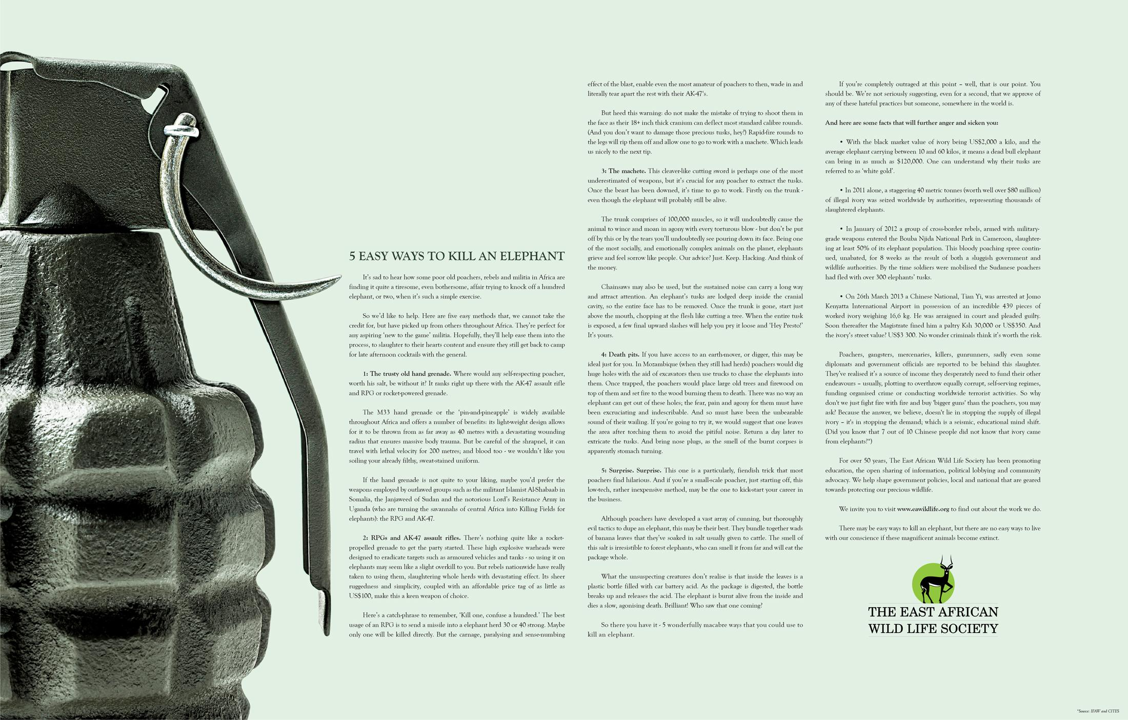 East African Wildlife Society Print Ad -  Hand Grenade