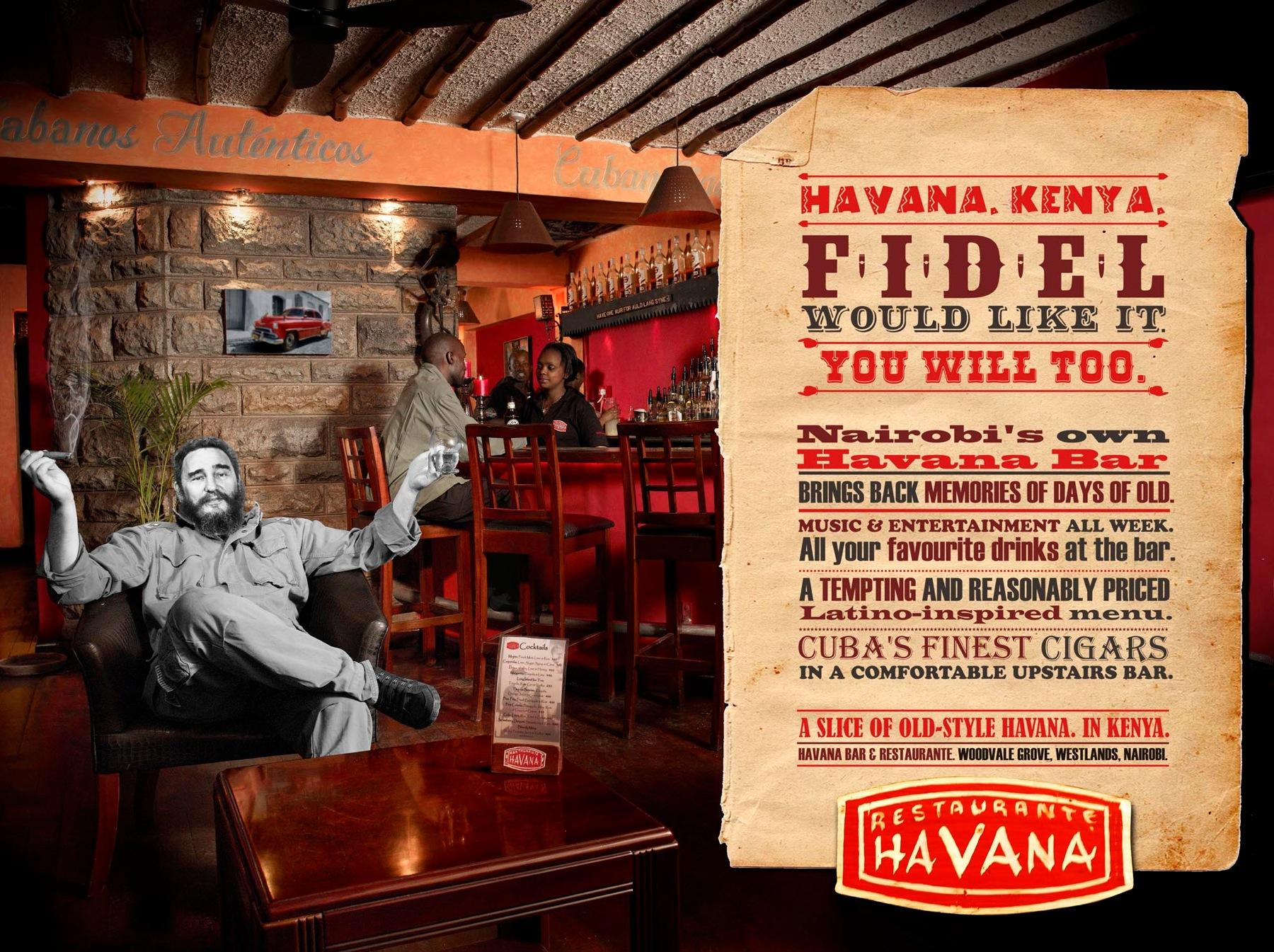 Havana Bar & Restaurant Print Ad -  Fidel would like it