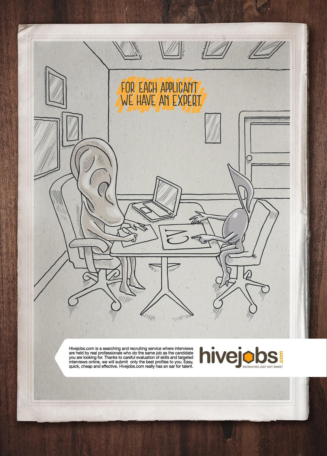 Hivejobs.com Print Ad -  Ear