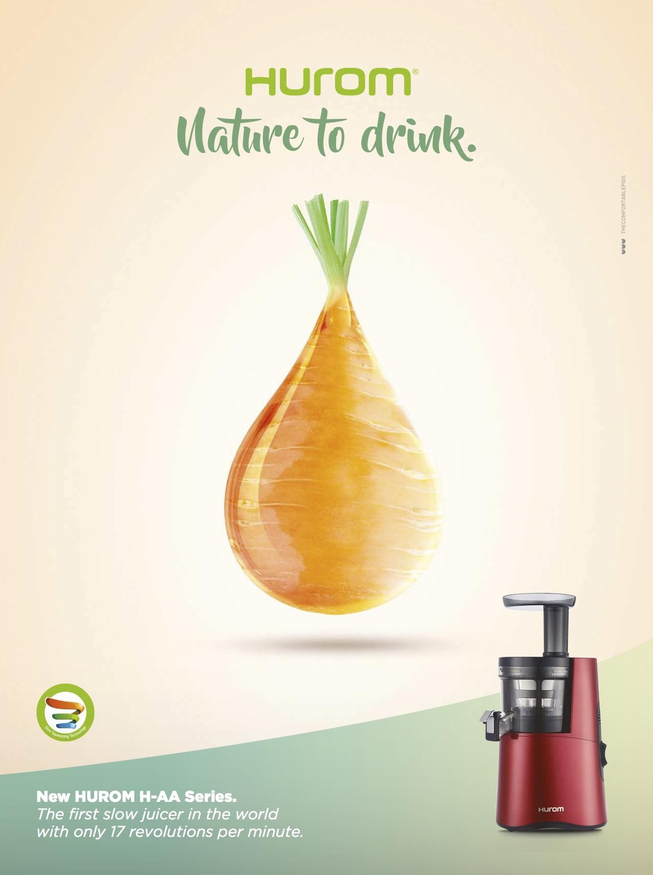 Juice Art Slow Juicer Istruzioni : Hurom Print Advert By Thecomfortablepigs: Drops - Carrot Ads of the World