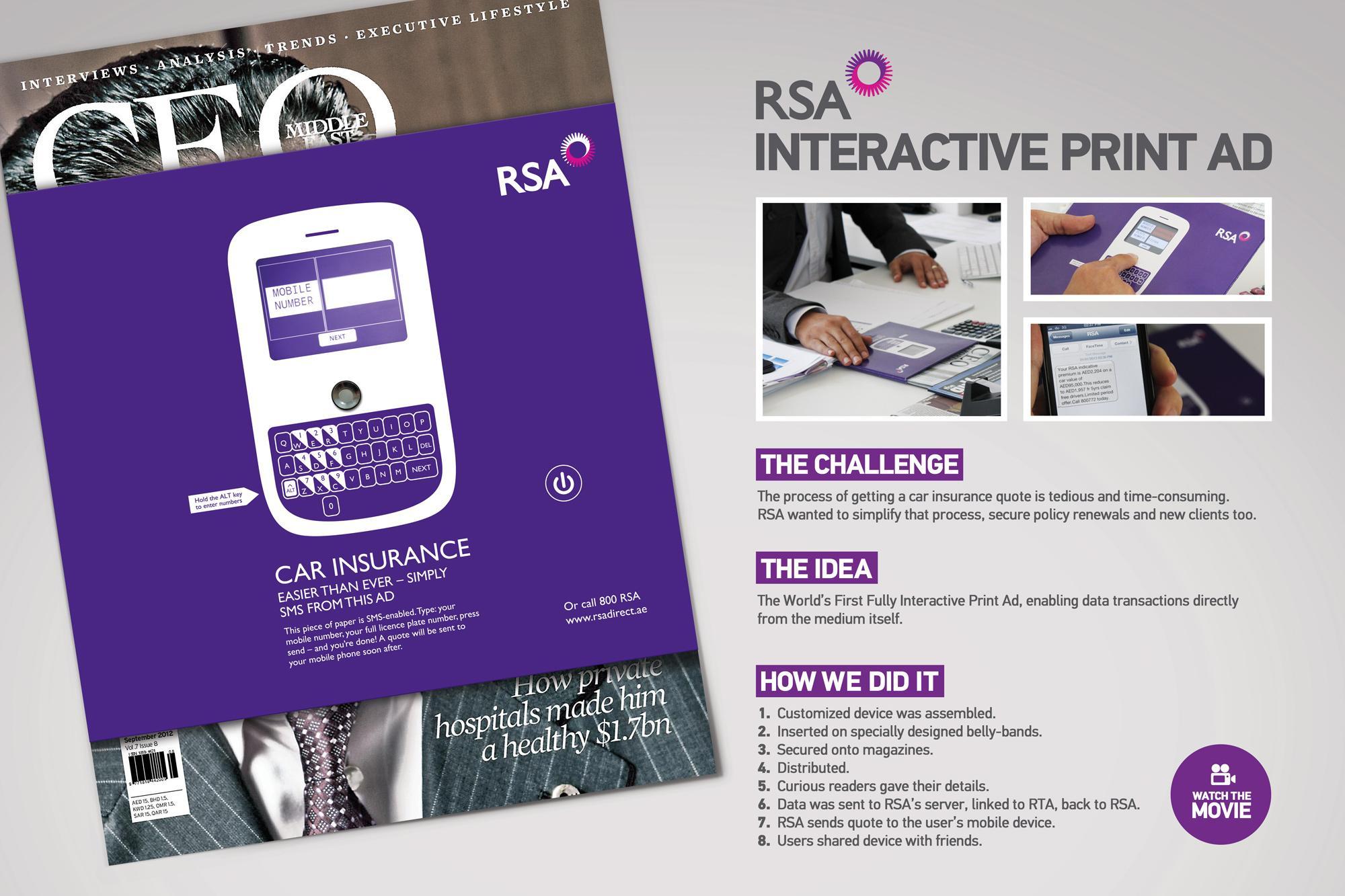 RSA Print Ad -  Interactive Print Ad