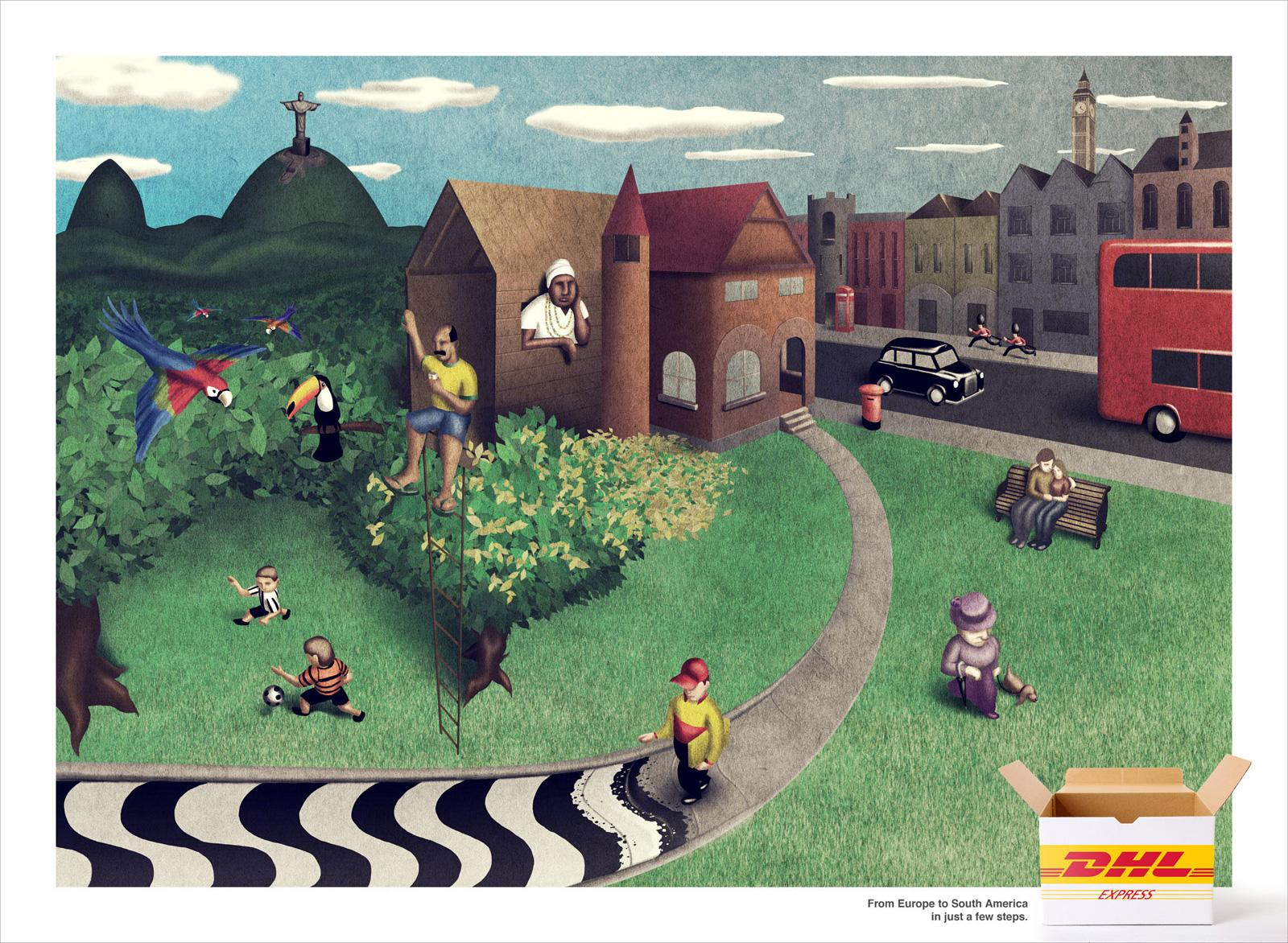 DHL Print Ad -  From Europe to South America in just a few steps