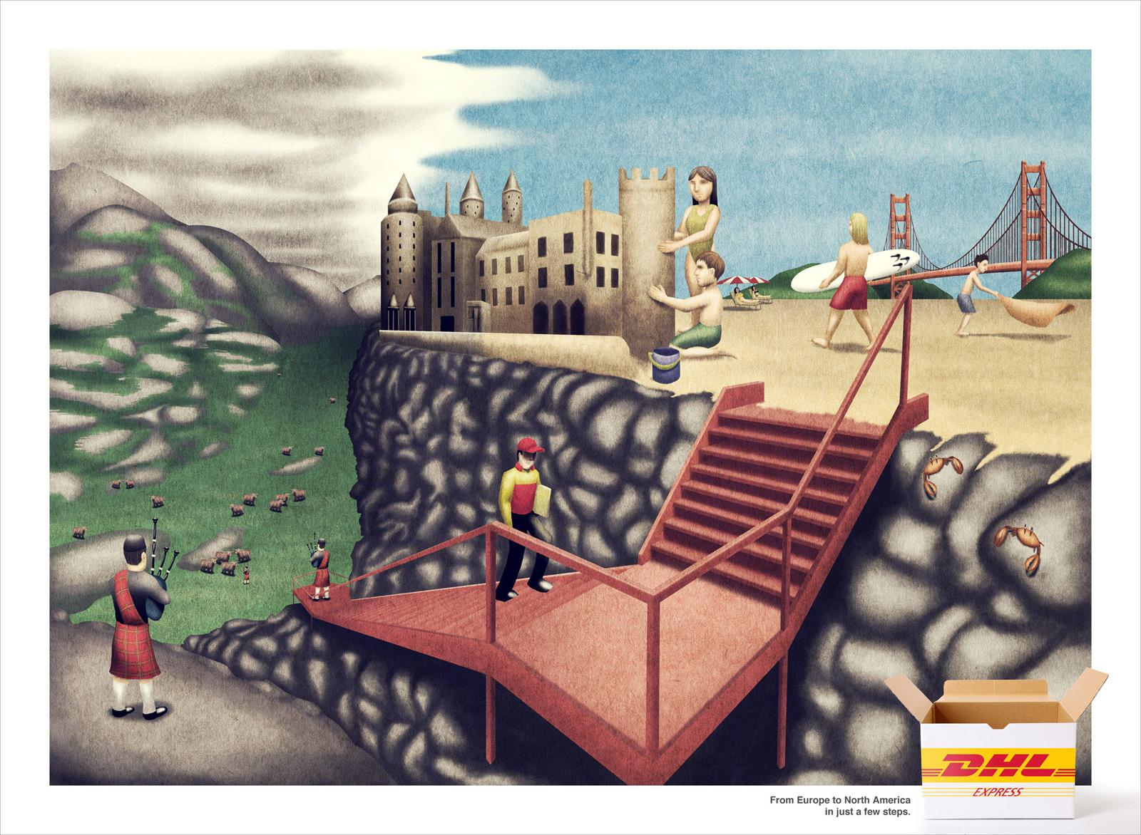 DHL Print Ad -  From Europe to North America in just a few steps