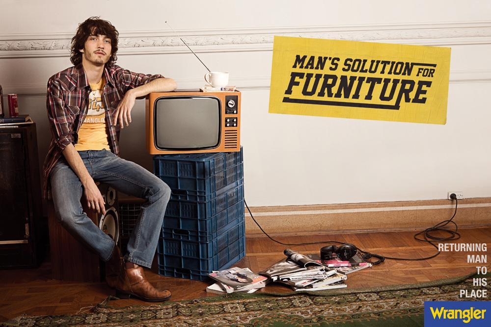 Wrangler Print Ad -  Man's solution for furniture