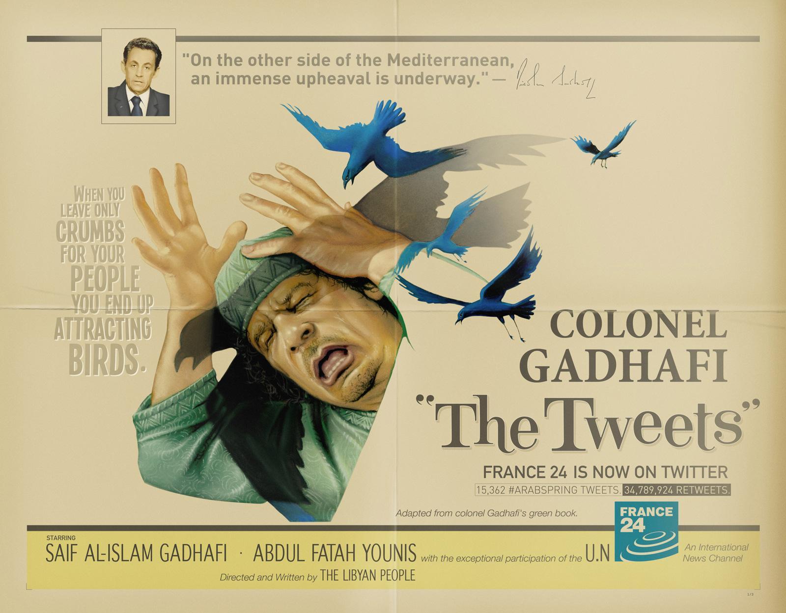 France 24 Print Ad -  The Birds, Gadhafi