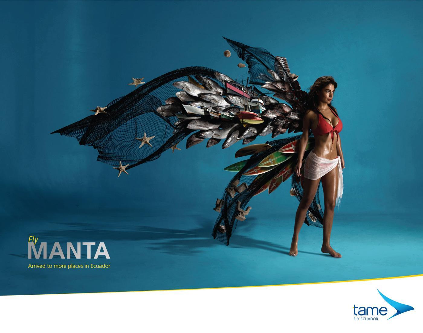 Tame Ecuador Airlines Print Ad -  Fly Manta