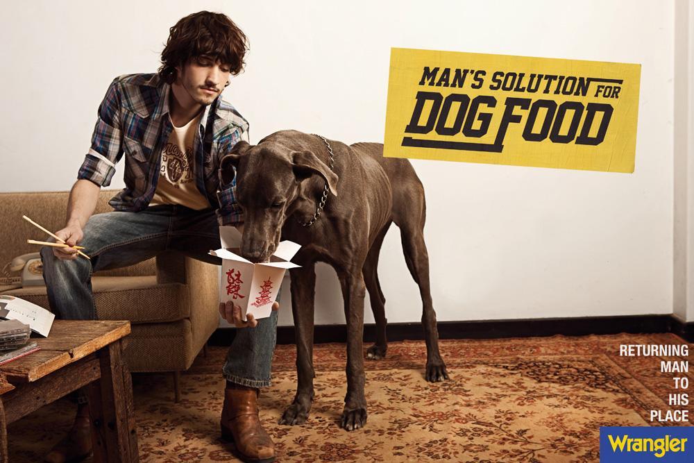 Wrangler Print Ad -  Man's solution for dog food