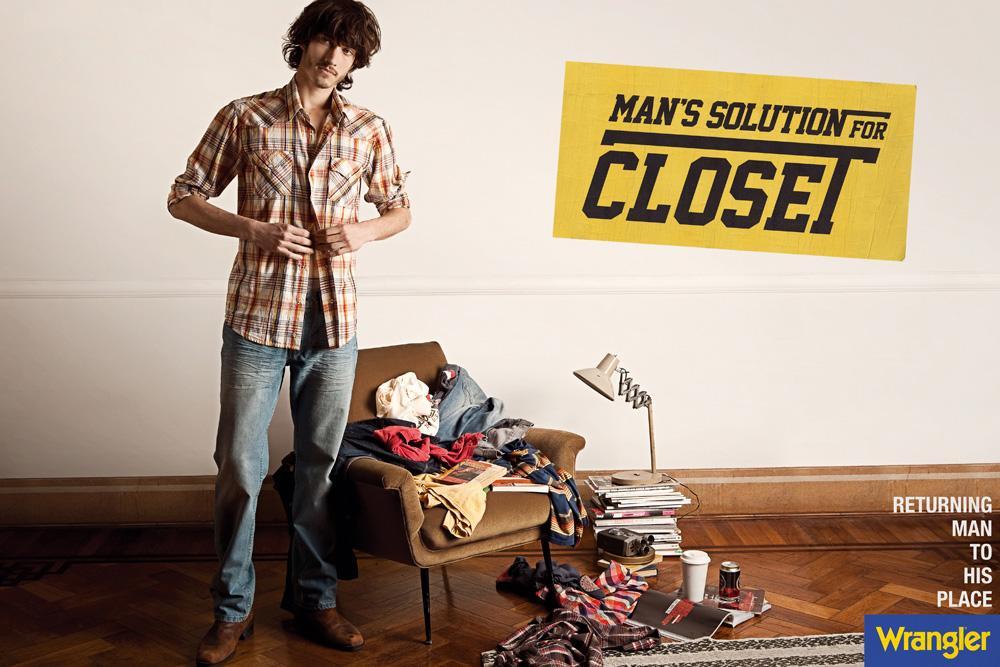 Wrangler Print Ad -  Man's solution for closet