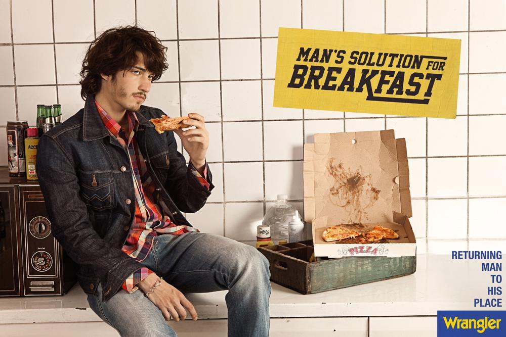Wrangler Print Ad -  Man's solution for breakfast