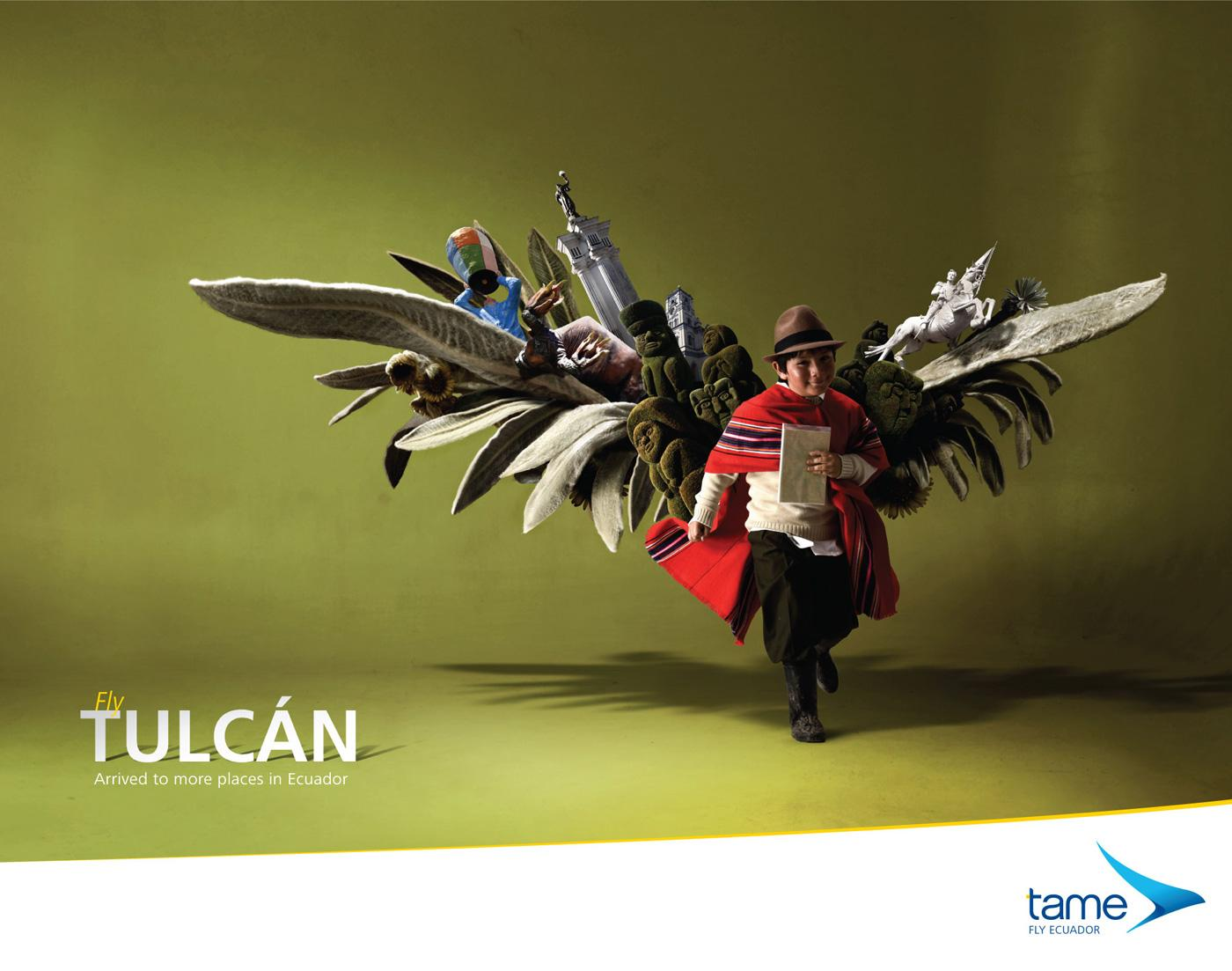 Tame Ecuador Airlines Print Ad -  Fly Tulcán