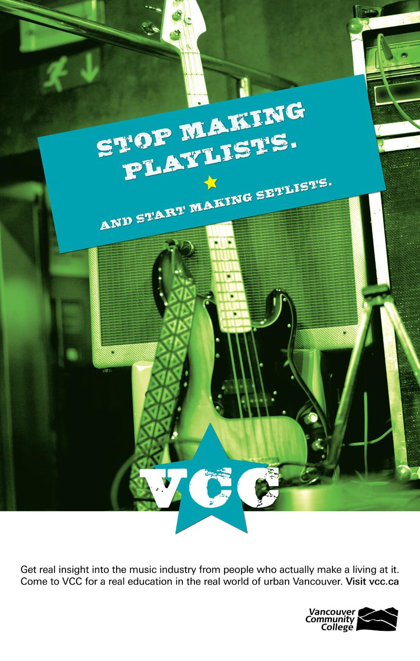 Vancouver Community College Print Ad -  Playlists