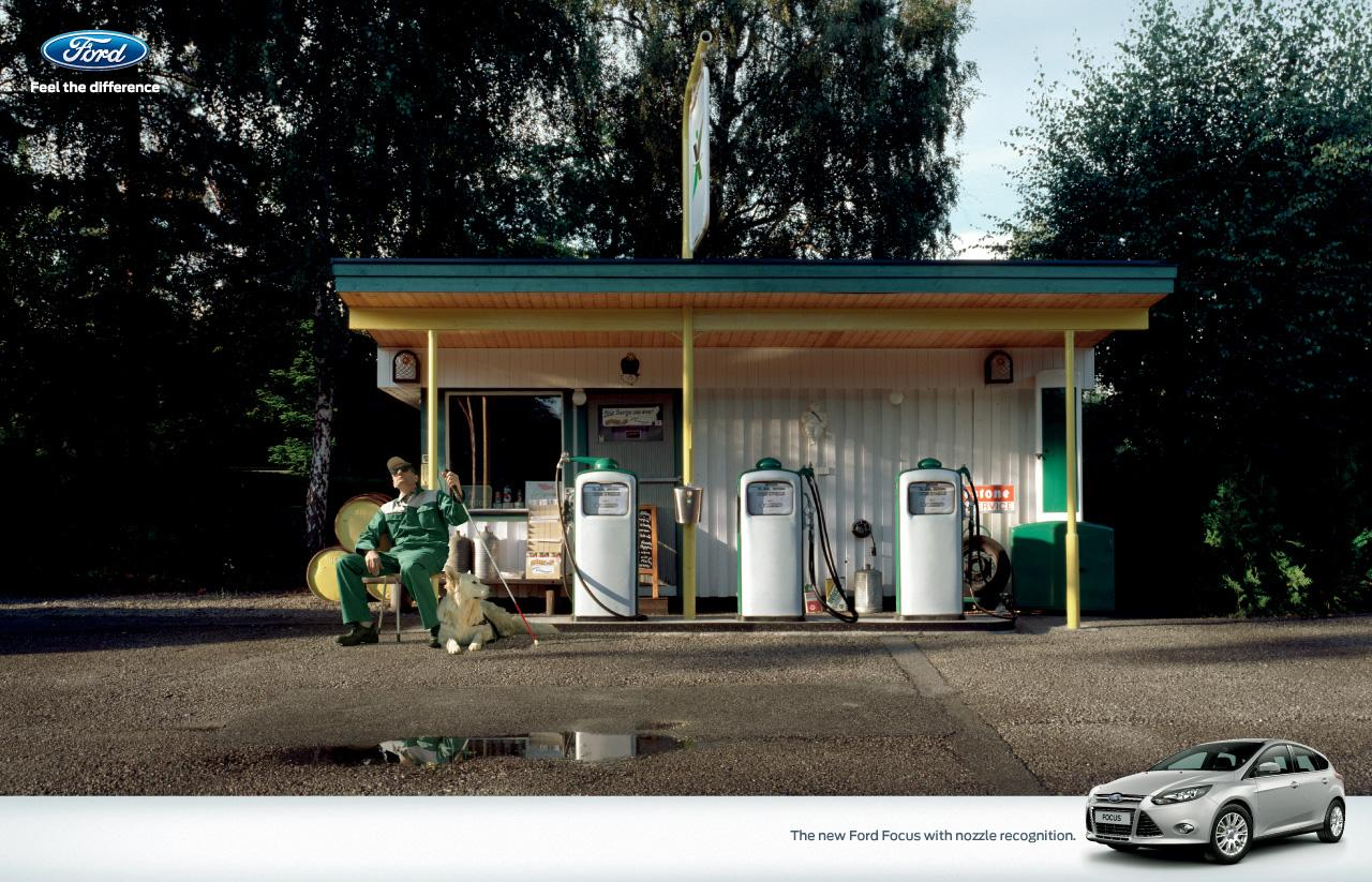 Ford Print Ad -  Blind service station attendant