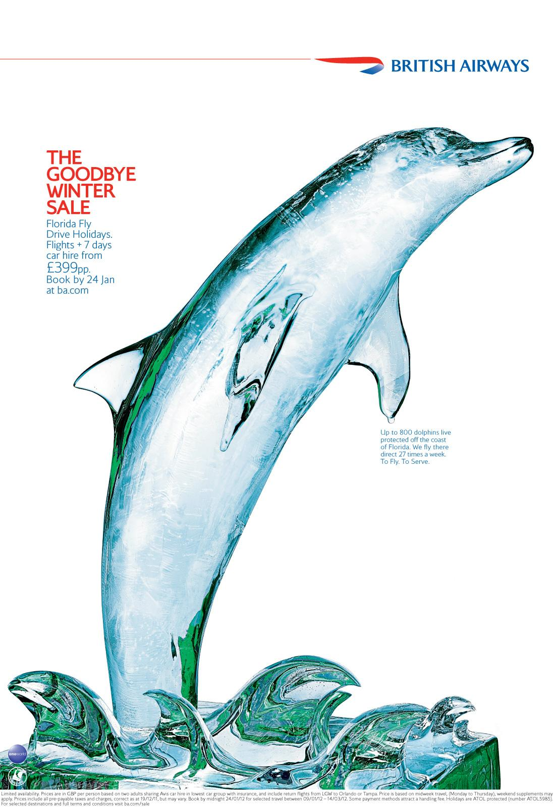 British Airways Print Ad -  January sale, Dolphin