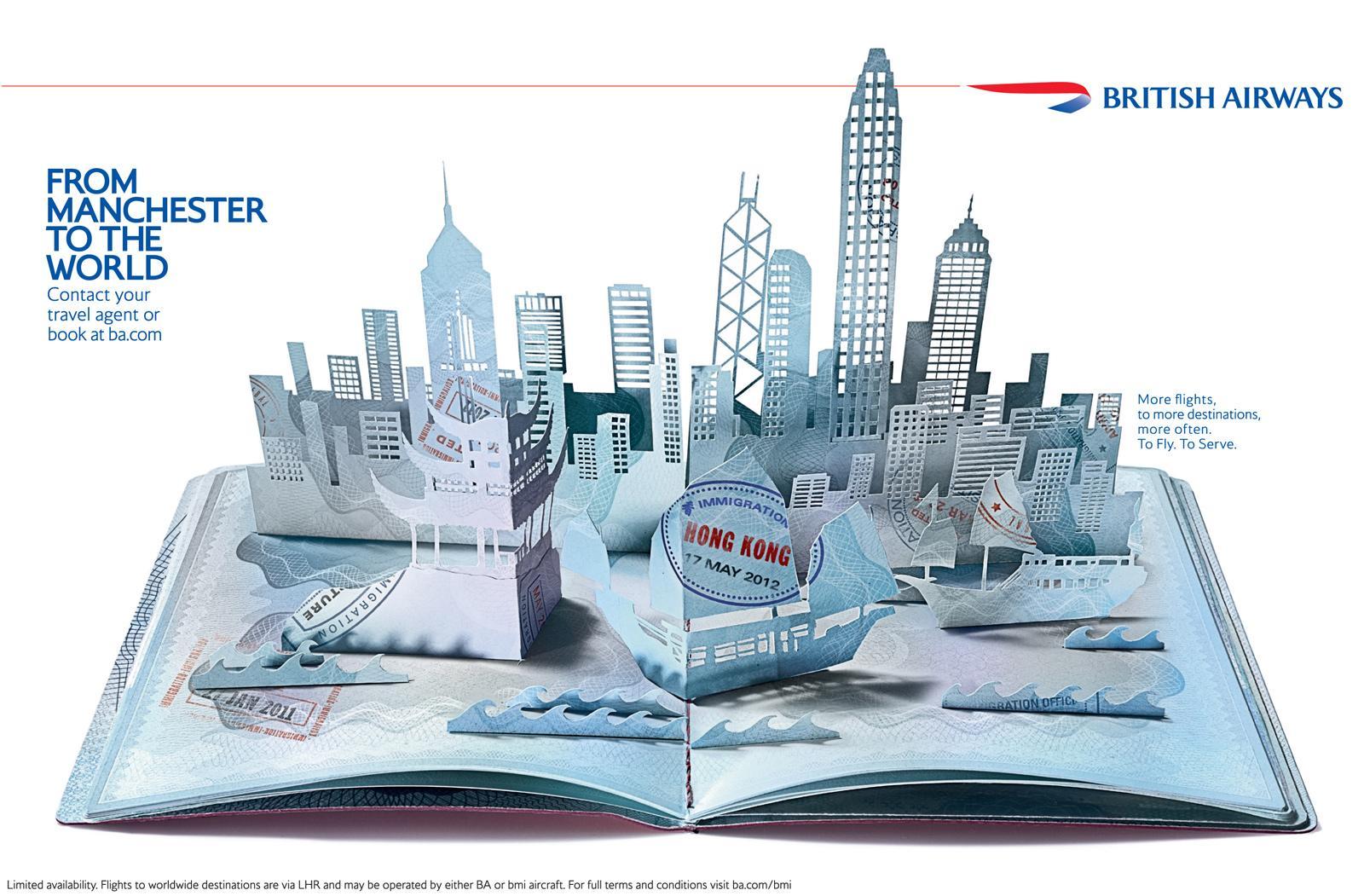 British Airways Print Ad -  Pop-up passport, Hong Kong