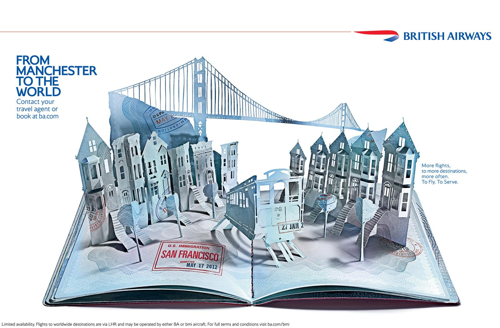 British Airways Print Ad -  Pop-up passport, San Francisco