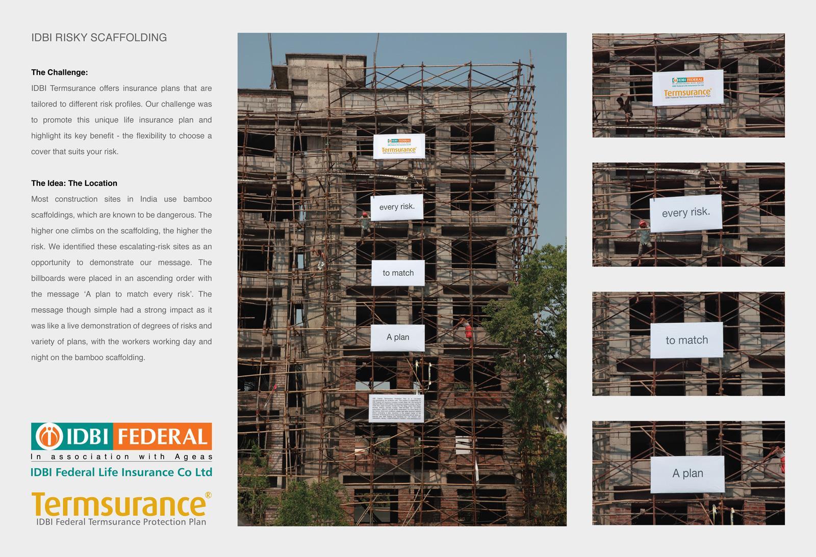 IDBI Federal Outdoor Ad -  Risky scaffolding