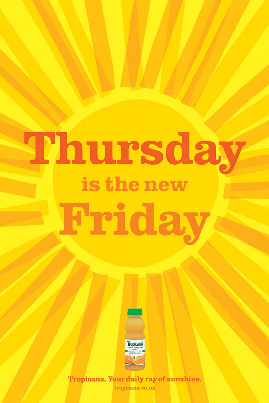 Tropicana Print Ad -  Your Daily Ray of Sunshine, Thursday