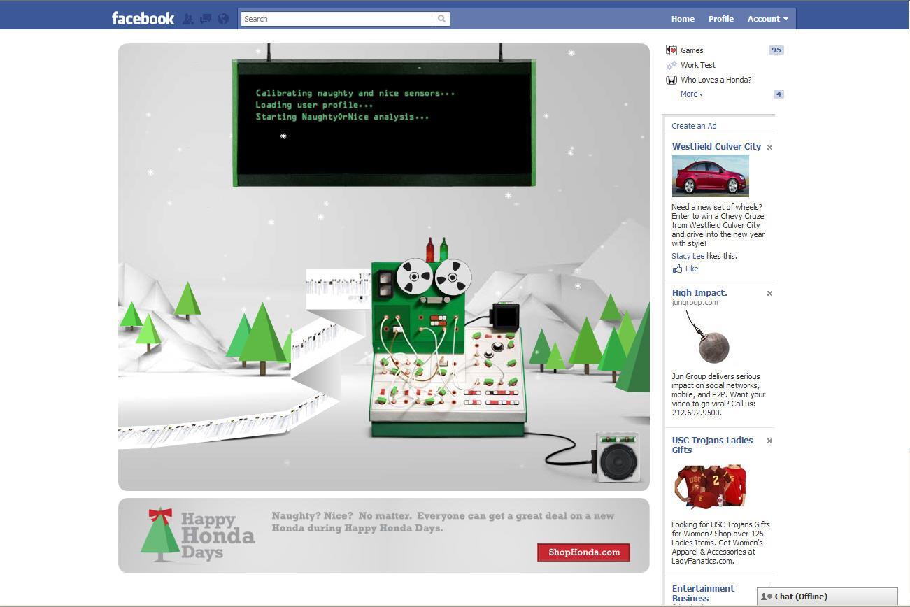 Honda Digital Ad -  NaughtyOrNice-a-tron Facebook app