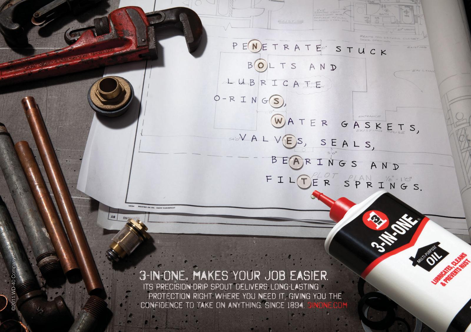 3-IN-ONE Oil Print Ad -  No Sweat