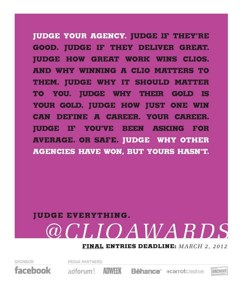 CLIO Awards Print Ad -  Judge your agency