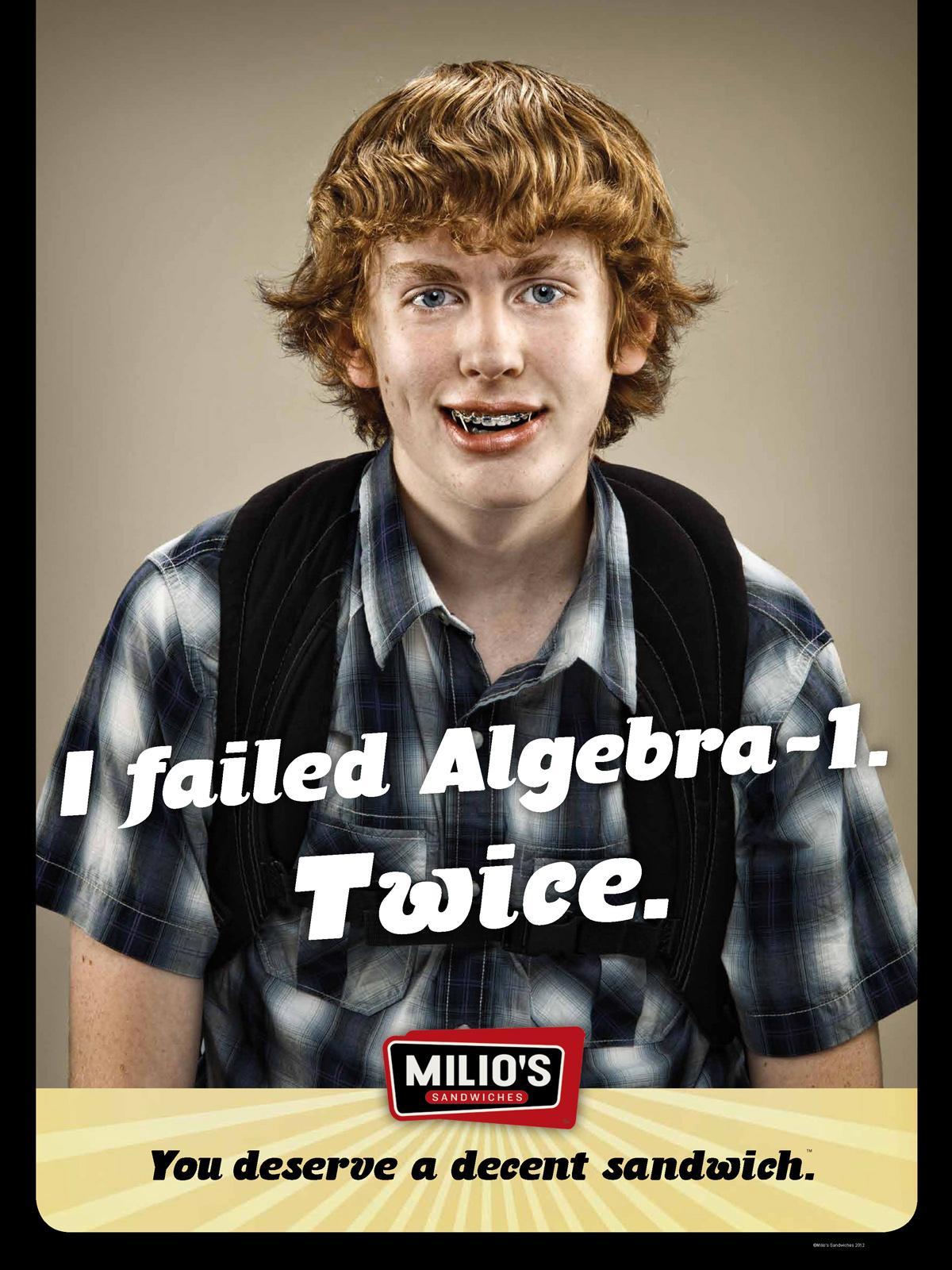 Milio's Sandwiches Print Ad -  Algebra