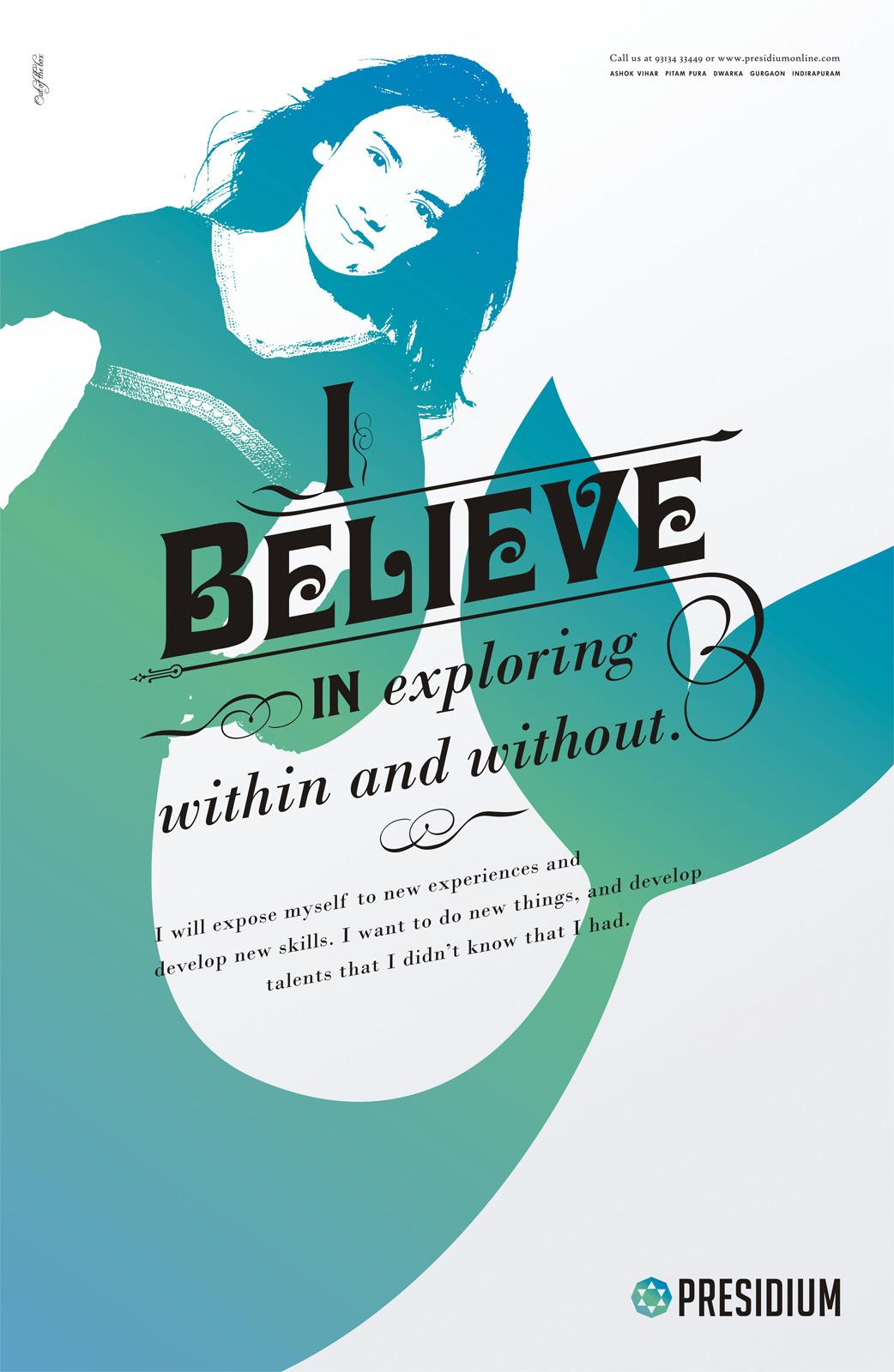 Presidium Print Ad -  I believe in exploring within and without