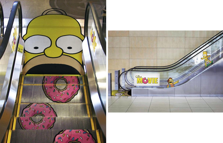 Homer Simpson Ambient Ad -  Escalator