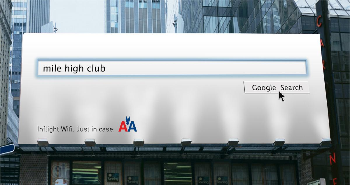 American Airlines Print Ad -  Inflight Wifi - Just in case, Mile high club