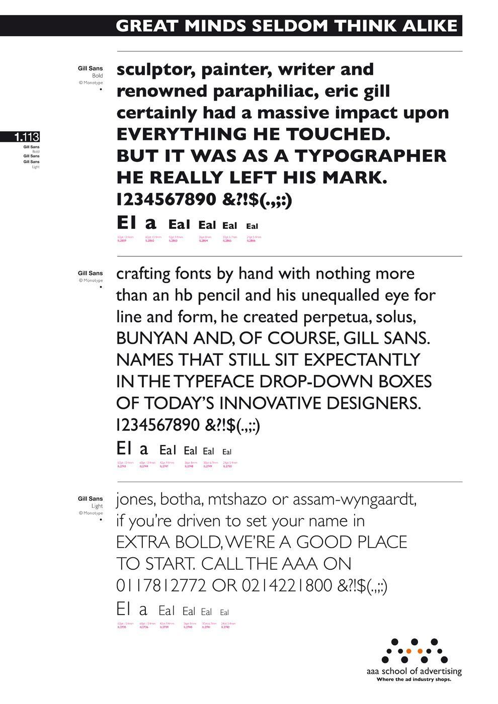 AAA School Of Advertising Print Ad -  Eric Gill Typographer & Gill Sans