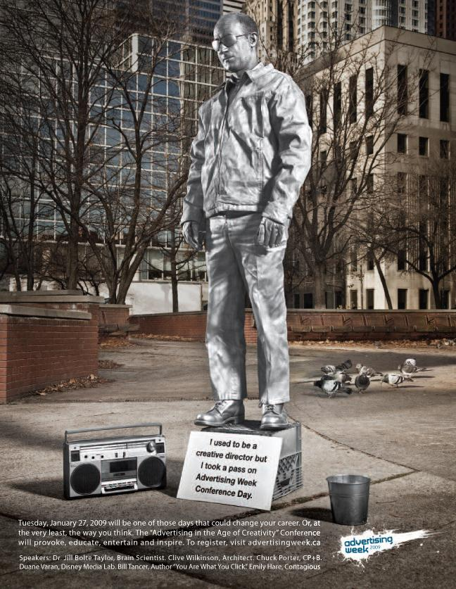 Advertising Week Print Ad -  Statue