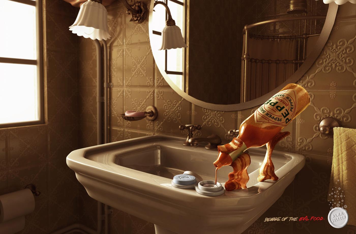 Alka Seltzer Print Ad -  Beware of the evil food, Bacon