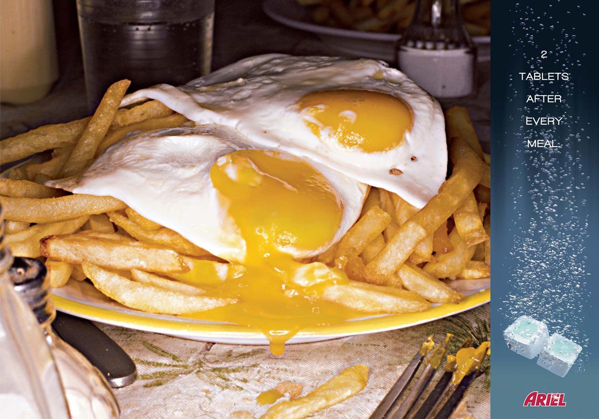 Ariel Print Ad -  Fried eggs