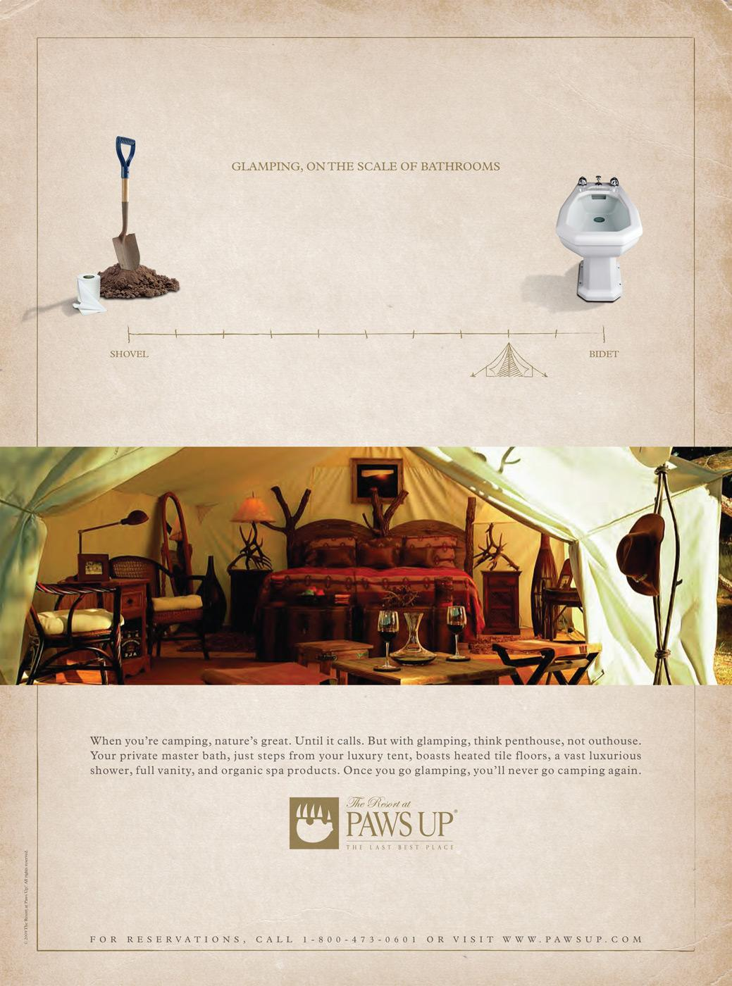 The Resort at Paws Up Print Ad -  Bathrooms