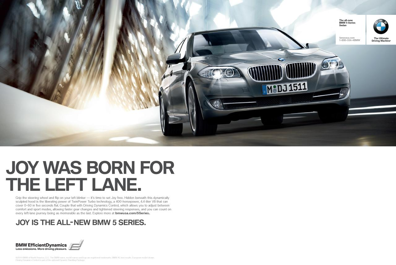 BMW Print Ad -  Joy Was Born for the Left Lane